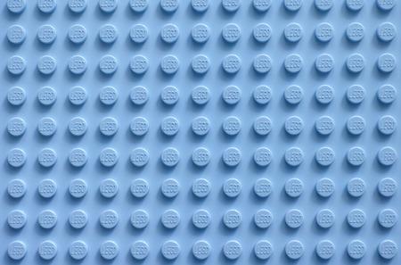Tambov, Russian Federation - February 20, 2015 Lego blue baseplate. Lego toys manufactured by the Lego Group (Billund, Denmark). Editorial