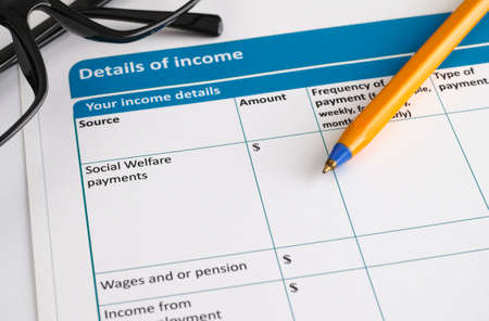 questionary: Details of income form with glasses and ballpoint pen. Adobe RGB. Stock Photo