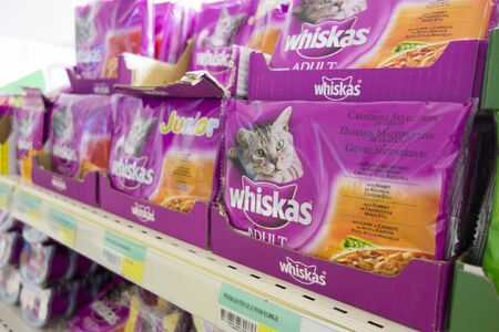 mars incorporated: Paphos, Cyprus - December 09, 2013 Cats food by Whiskas on store shelves. Whiskas (formerly known as Kal Kan) is a brand of cat food sold throughout the world. It is owned by the American group Mars, Incorporated. Editorial