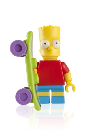 simpson: Tambov, Russian Federation - April 30, 2014 Lego Bart Simpson minifigure with skateboard on white background. Studio shot.