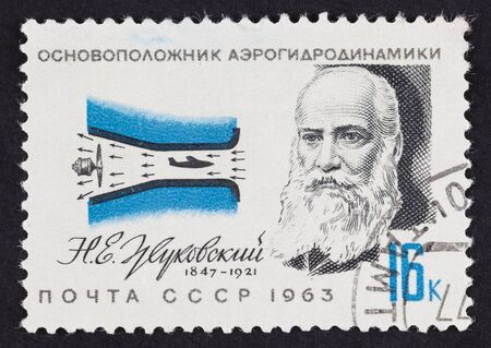nikolay: USSR postage stamp Nikolay Zhukovsky. 1963 year. Nikolay Yegorovich Zhukovsky (1847 – 1921) was a Russian scientist and a founding father of modern aero- and hydrodynamics. Editorial