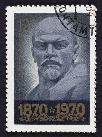 stamp collecting: USSR postage stamp Vladimir Lenin. 1970 year. Black background. Vladimir Ilyich Lenin born Vladimir Ilyich Ulyanov, (22 April 1870 – 21 January 1924) was a Russian communist revolutionary, politician and political theorist.