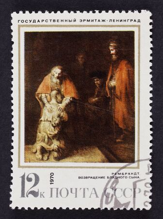 rembrandt: USSR postage stamp The Return of the Prodical Son by Rembrandt. 1970 year. Black background.