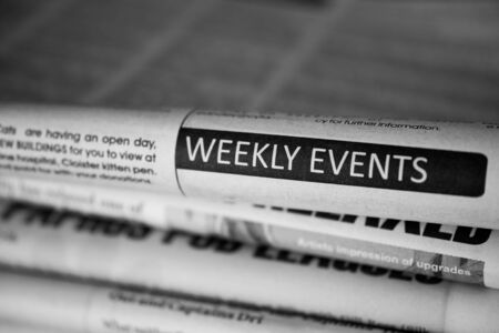 printout: Weekly events in newspaper. Black and white. Stock Photo