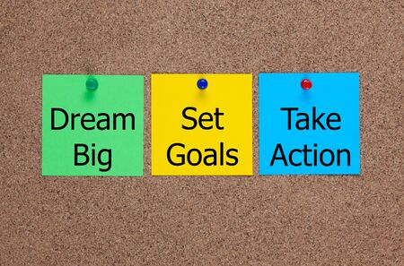 corkboard: Three blanks  notes on corkboard with words Dream Big, Set Goals, Take Action. Stock Photo