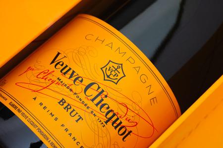 Tambov, Russian Federation - August 16, 2015 Bottle of Champagne Veuve Clicquot Brut in box. Studio shot.