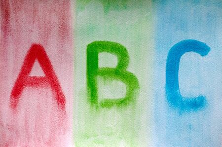 letter c: Letters ABC drawn on watercolor paper. Picture drawn by me.