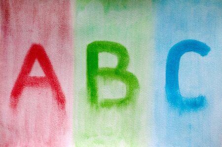papier a lettre: Lettres ABC dessin� sur papier aquarelle. Image dessin�e par moi.