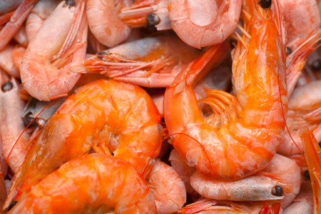 red cooked: Heap of cooked red shrimps. Stock Photo