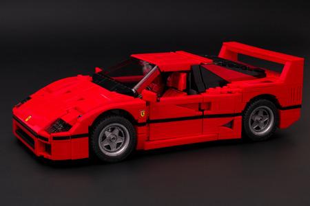 creador: Tambov, Russian Federation - January 03, 2016 Lego Creator Expert Ferrari F40 car on black background. Studio shot.
