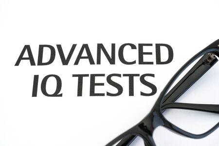 iq: Advanced IQ tests with glasses Stock Photo