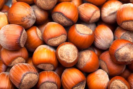 heap: Heap of hazelnuts. Close-up. Stock Photo