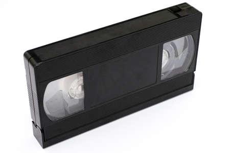 videocassette: cinta de vídeo negro sobre fondo blanco Foto de archivo