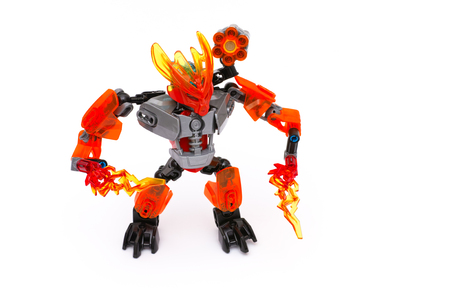 protector: Tambov, Russian Federation - July 16, 2015 Lego Bionicle Protector of Fire on white background. Studio shot. Editorial