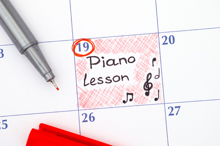 piano lesson: Reminder Piano Lesson in calendar with red pen