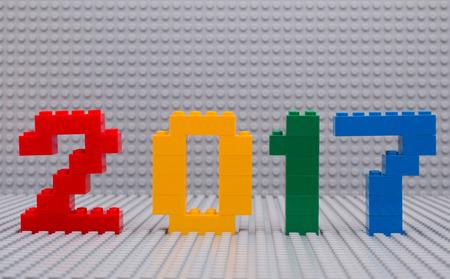 탐 보프, 러시아 - 2016 년 9 월 22 일 새 해 2017 개념 레고에 의해입니다. 스튜디오 촬영.