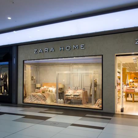 showcase interiors: Paphos, Cyprus - October 17, 2016 Zara Home shop window in Paphos shopping center. Editorial