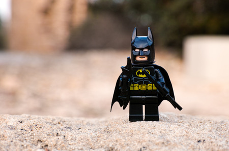 Paphos, Cyprus - October 18, 2016 Lego Batman minifigure stay outdoors. Редакционное