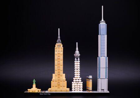 Tambov, Russian Federation - December 26, 2016 Lego Architecture New York City. Black background. Studio shot. Editorial