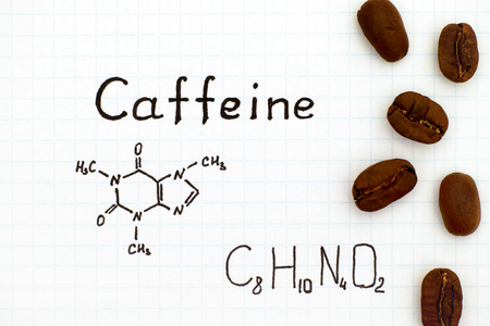 Chemical formula of Caffeine with coffee beans. Close-up.