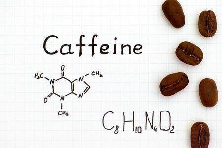 Chemische formule van cafeïne met koffiebonen. Detailopname.