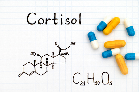steroid: Chemical formula of Cortisol with some pills. Close-up.