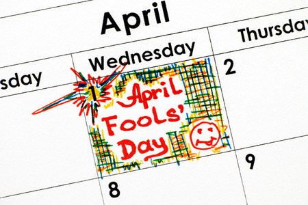 Reminder April Fools Day in calendar. Close-up.