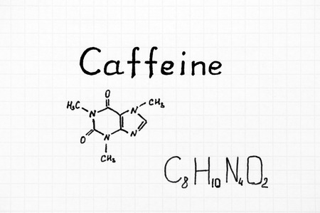 Chemical formula of Caffeine. Close-up. Stock Photo