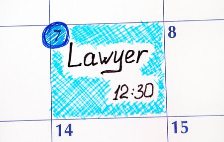 Reminder Lawyer in calendar. Close-up. Stock fotó