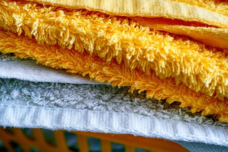 Close-up of stack of clean towels after laundering.