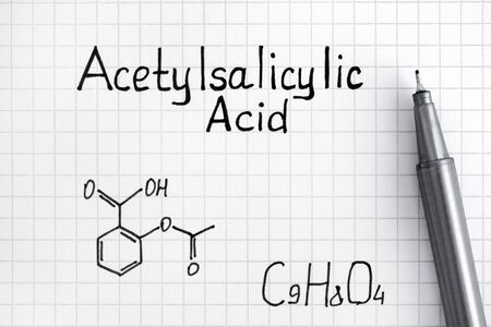 Chemical formula of Acetylsalicylic Acid with pen. Close-up.