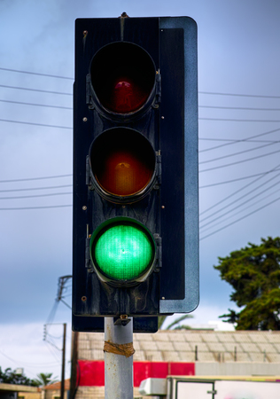 Green traffic light. Close up.