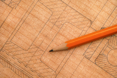 Old technical drawing on graph paper with pencil. Close-up. Stock Photo