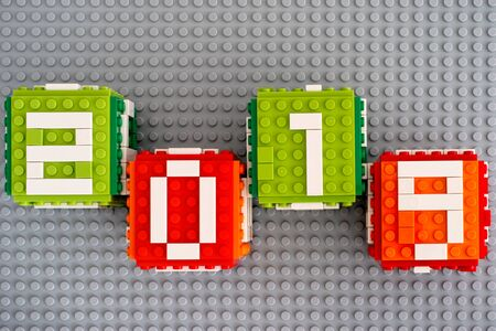 Tambov, Russian Federation - September 02, 2018 Four Lego cubes with numbers 2019 on gray baseplate background.