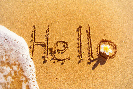 Word Hello written on sand with wave and flower.