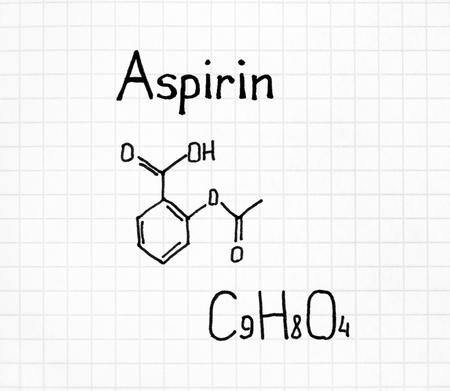 Handwriting Chemical formula of Aspirin. Close up.