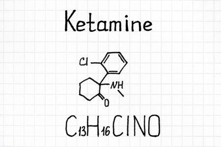 Handwriting Chemical formula of Ketamine. Close up.