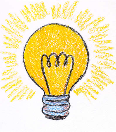 Hand drawing Light Bulb made by wax crayons