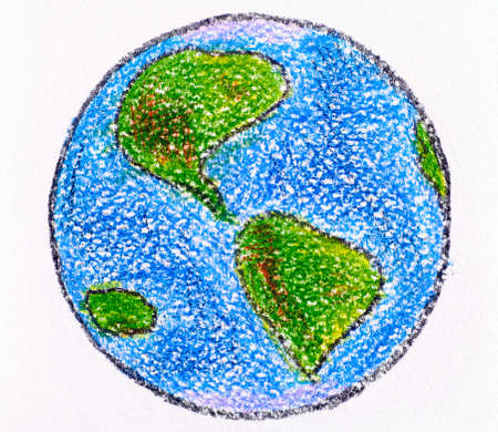 Hand drawing Planet Earth made by wax crayons