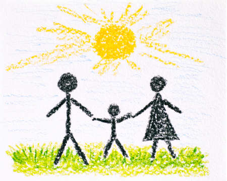 Family - Mother, Father and son. Child hand drawing made by wax crayon.