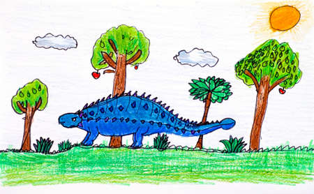 Blue Ankylosaurus in nature. Child pencil hand drawing. Zdjęcie Seryjne