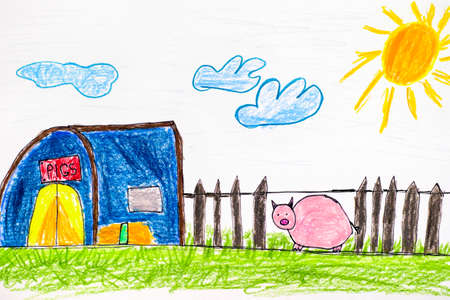 Pig on farm. Child pencil hand drawing.