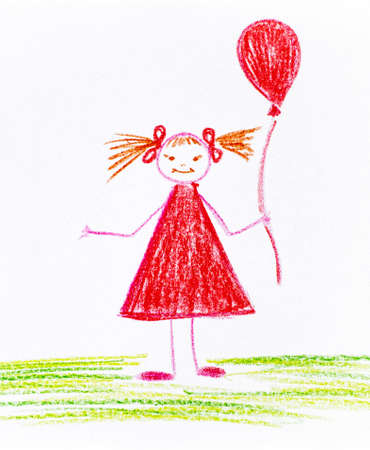 Child hand drawing Girl with red balloon made by wax crayon.