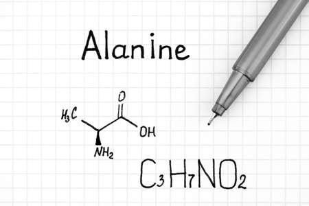 Chemical formula of Alanine with pen. Close-up. Stock fotó - 155446782