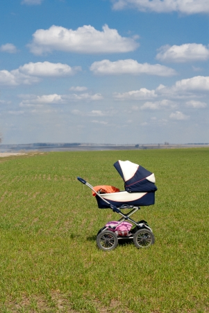 Buggy in spring field under blue sky photo