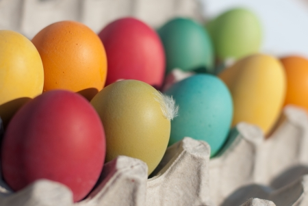 pasch: Set of colored pasch eggs Stock Photo