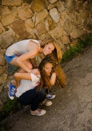 Two teen girls having fun Stock Photo - 17198458