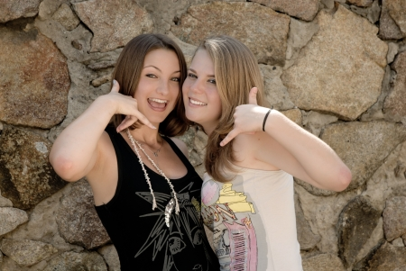 Two teen girls showing call sign Stock Photo - 17198438