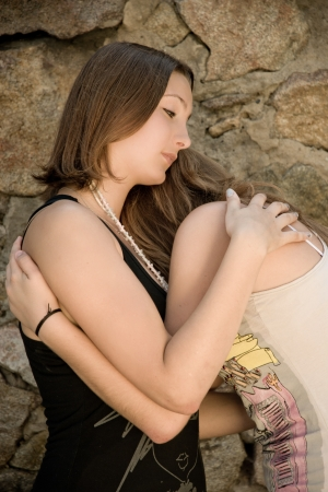 Teen friend comforting photo