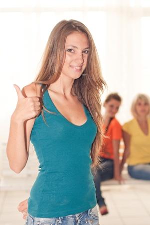 Young beautiful girl showing okay sign Stock Photo - 17201225